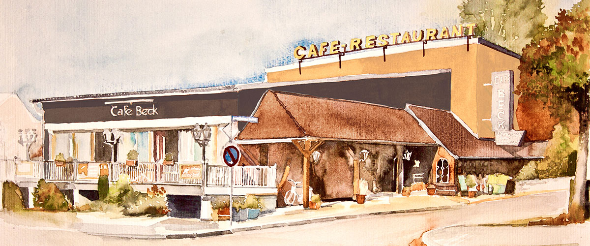 Cafe Beck Aquarell-Bild